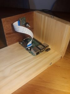 Enclosure opened with Pi and camera module
